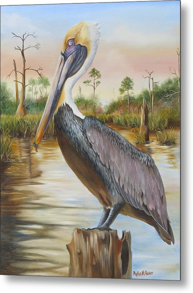 Bayou Coco Point Pelican Metal Print