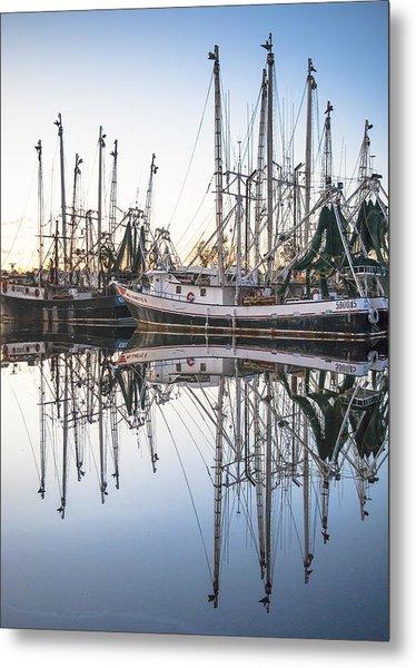 Bayou La Batre' Al Shrimp Boat Reflections 44 Metal Print