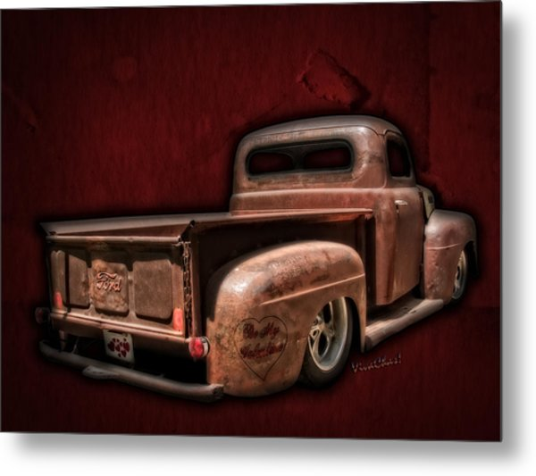 Be My Valentine On The Rat Rod Of Love Metal Print
