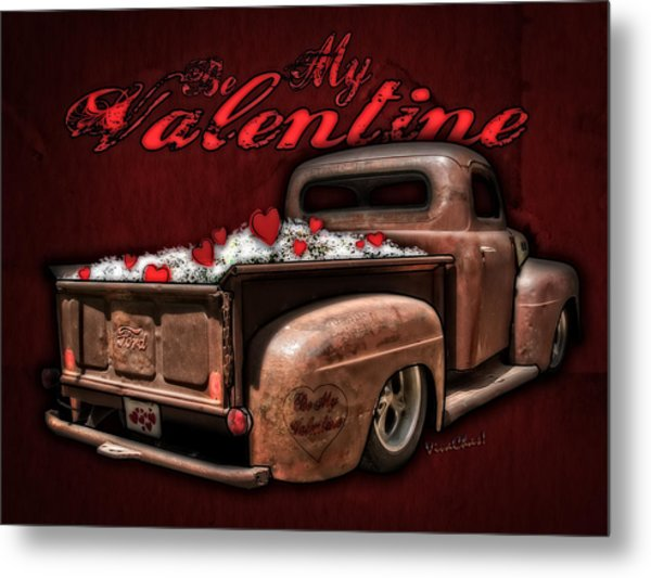 Be My Valentine With Hearts And Flowers Metal Print