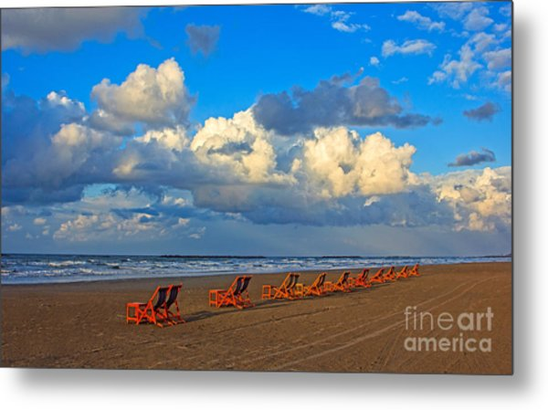Beach And Chairs With Cloudy Sky Metal Print