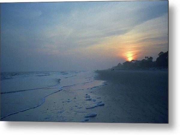 Beach And Sunset Metal Print
