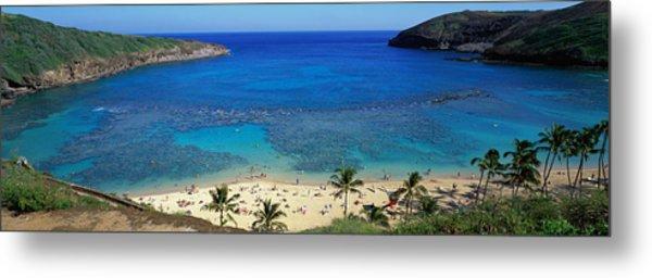 Beach At Hanauma Bay Oahu Hawaii Usa Metal Print