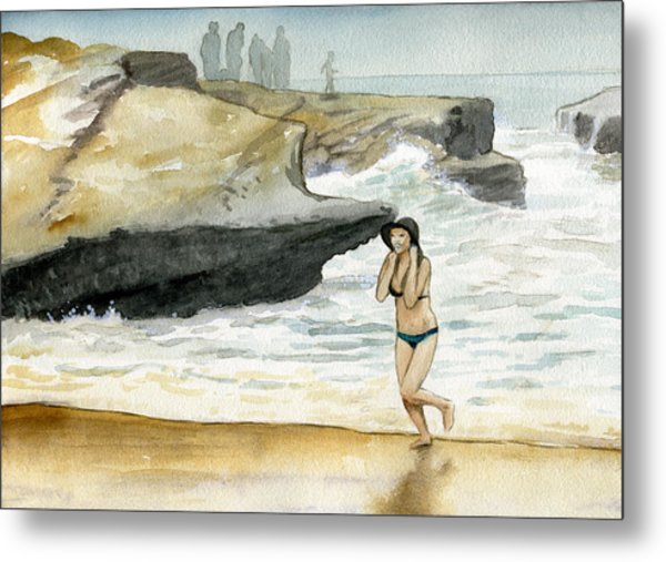 Beach At Sunset Cliffs Metal Print