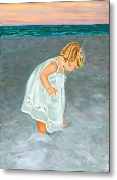 Beach Baby In White Metal Print