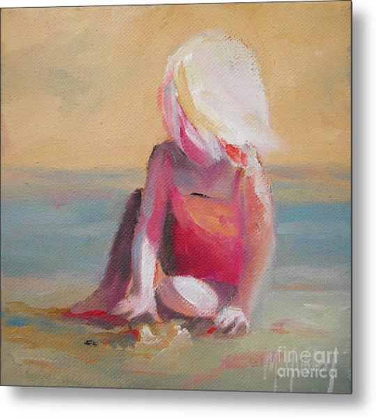 Beach Blonde Girl In The Sand Metal Print