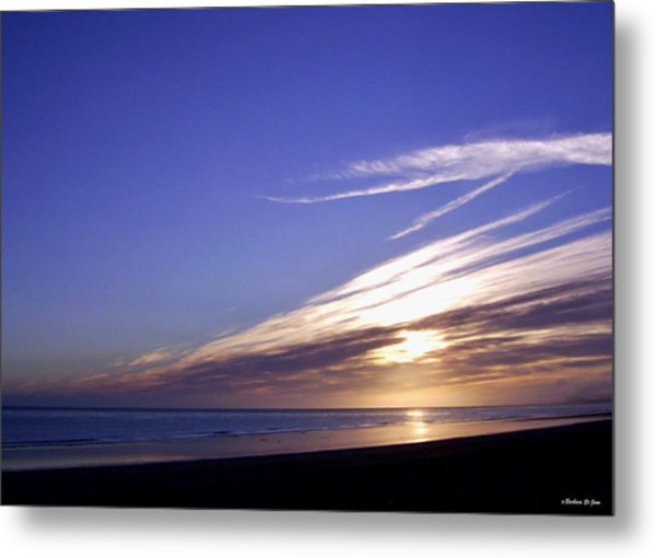 Beach Blue Sunset Metal Print