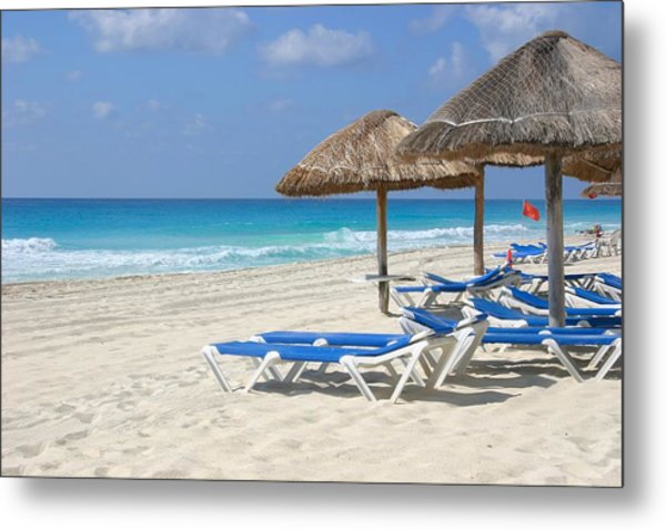 Beach Chairs In Cancun Metal Print