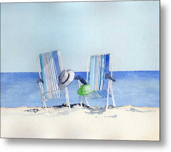 Beach Chairs Metal Print