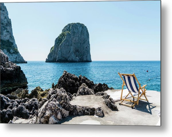 Beach Club La Fontanella, Capri Metal Print