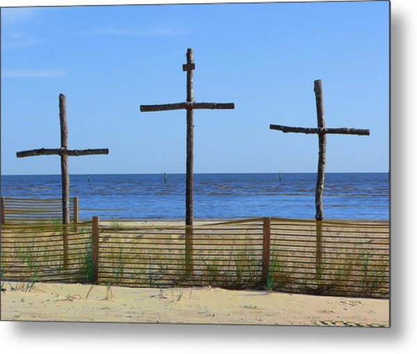 Beach Crosses Metal Print