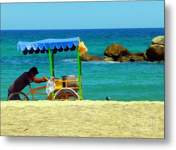 Beach Entrepreneur In San Jose Del Cabo Metal Print