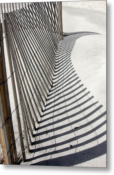 Beach Fence With Shadow Metal Print