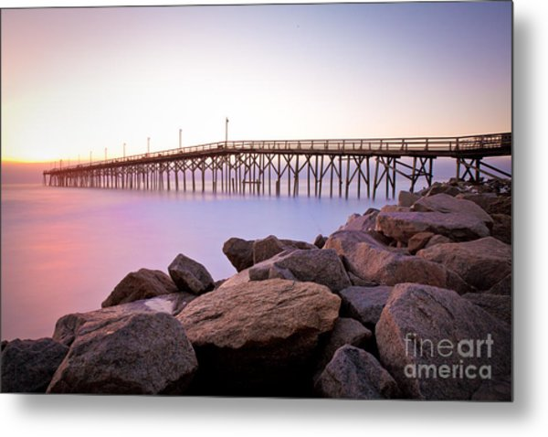 Beach Fishing Pier And Rocks At Sunrise Metal Print