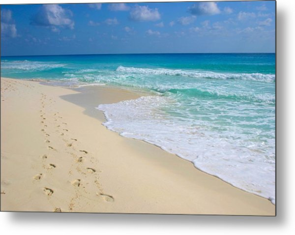 Beach Footprints Metal Print