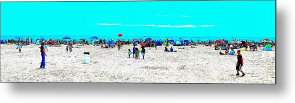 Beach Fun Frisbee Metal Print