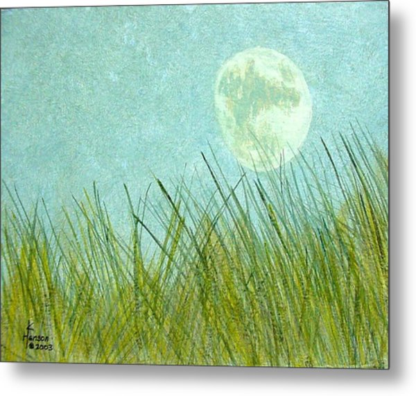 Beach Grass With Moon Metal Print