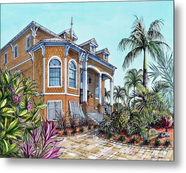 Magnolia Beach House Metal Print