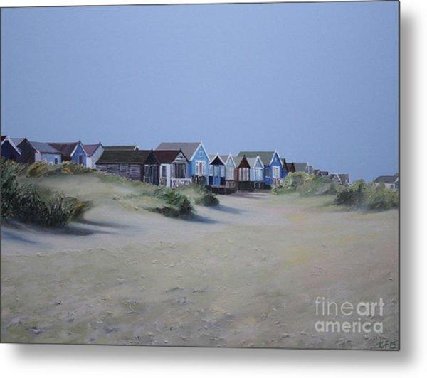 Beach Huts And Dunes Metal Print by Linda Monk