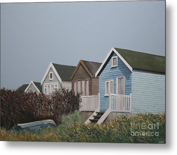 Beach Huts In A Row Metal Print by Linda Monk