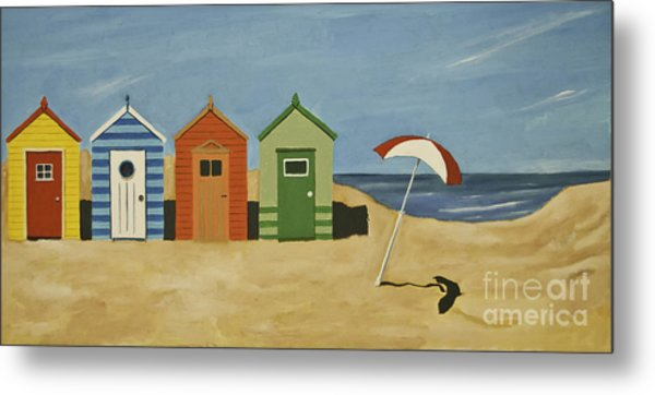 Beach Huts Metal Print