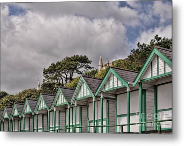 Beach Huts Langland Bay Swansea 3 Metal Print