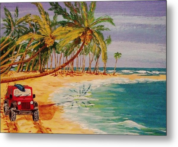 Beach Jeepin' Metal Print