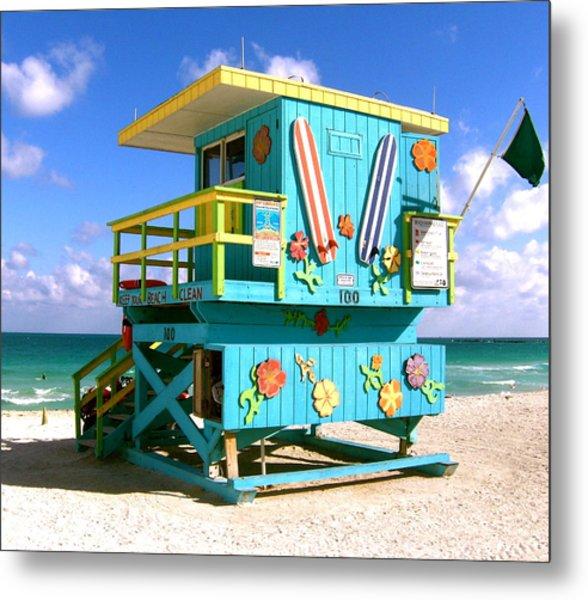 Beach Life In Miami Beach Metal Print