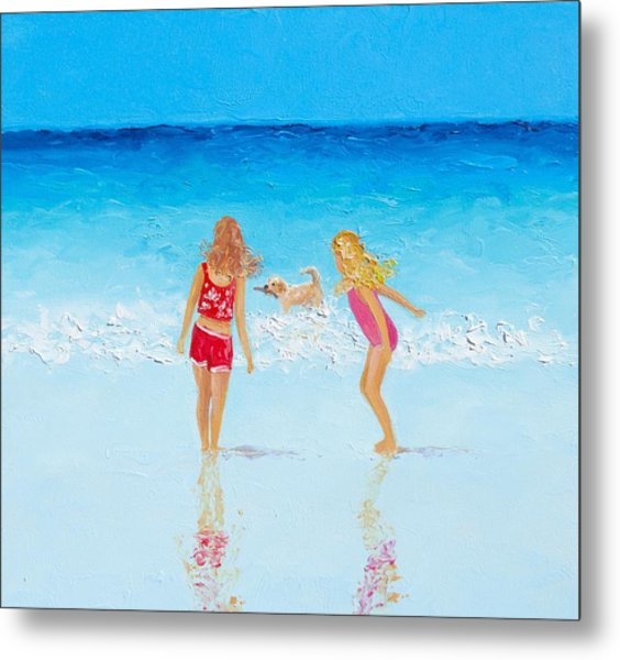 Beach Painting Beach Play Metal Print