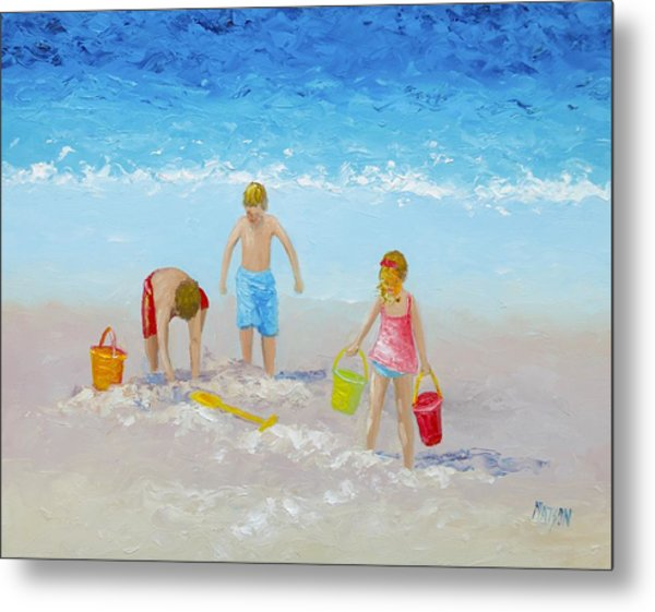 Beach Painting - Sandcastles Metal Print