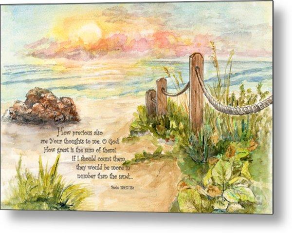 Beach Post Sunrise Psalm 139 Metal Print