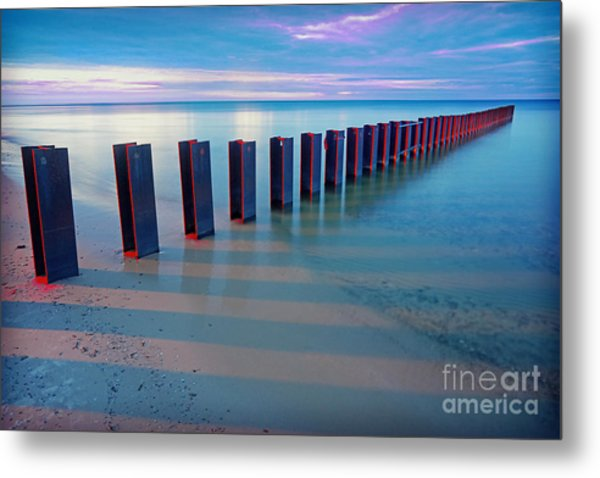 Beach Pylons At Sunset Metal Print