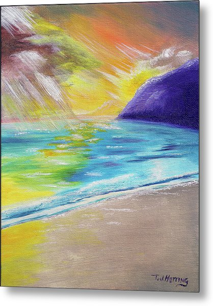 Metal Print featuring the painting Beach Reflection by Thomas J Herring
