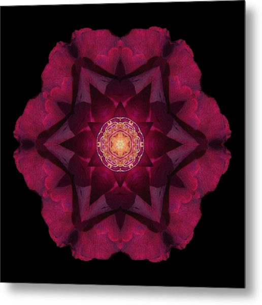Beach Rose I Flower Mandala Metal Print