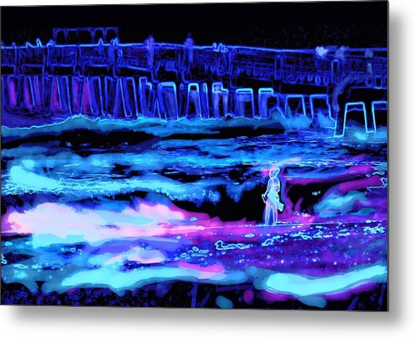 Beach Scene At Night Metal Print