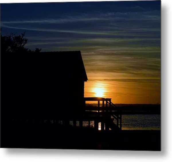 Beach Shack Silhouette Metal Print