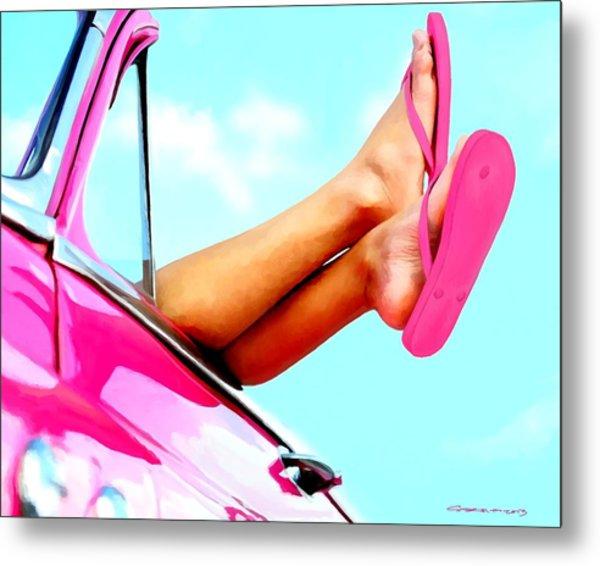 Beach Slippers - Summer Time Serie Metal Print