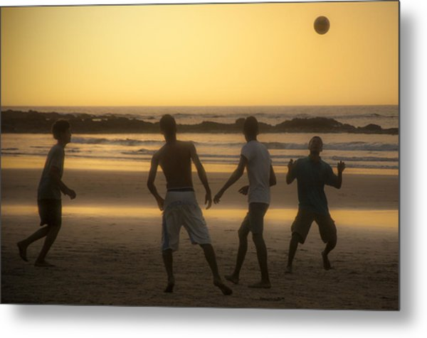 Beach Soccer At Sunset Metal Print