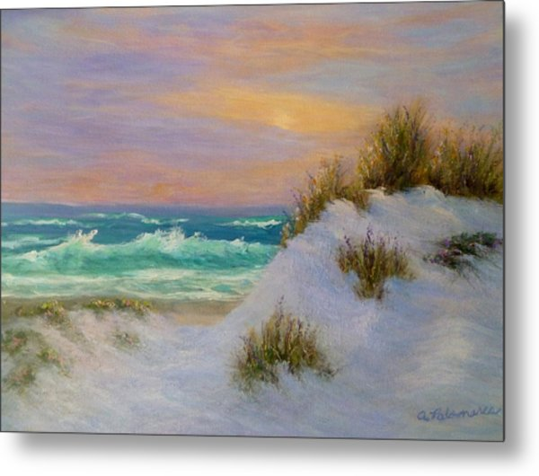 Beach Sunset Paintings Metal Print