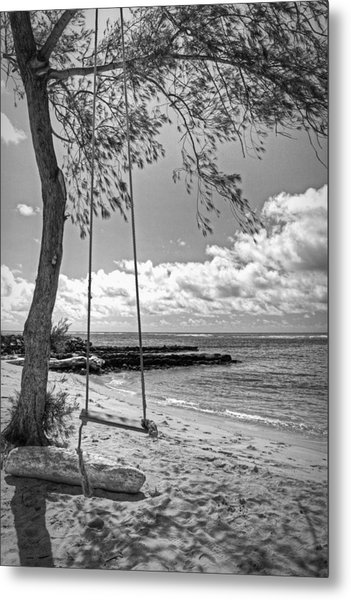 Beach Tree Swing Metal Print