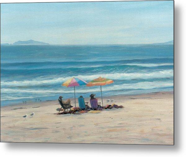 Beach Umbrellas Metal Print by Tina Obrien