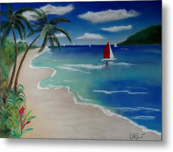 Beach With Sailboat Metal Print