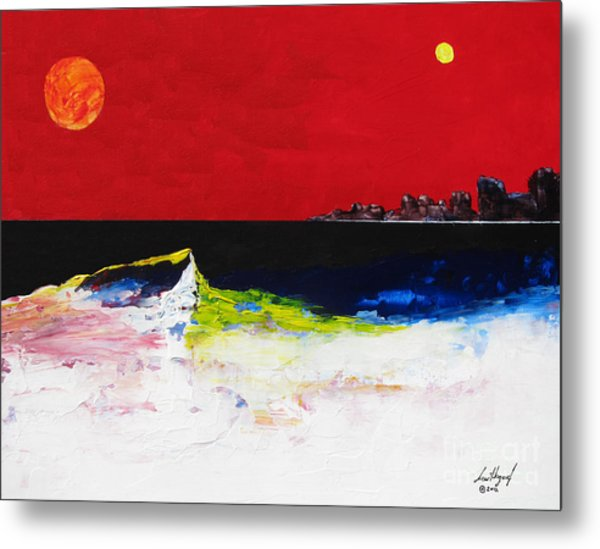 Beach With Sun And Moon Metal Print