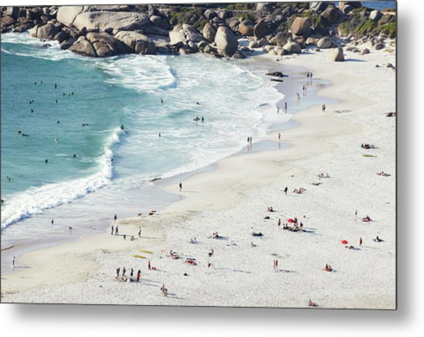 Beach With Swimmers Cape Town Metal Print by Michael Blann