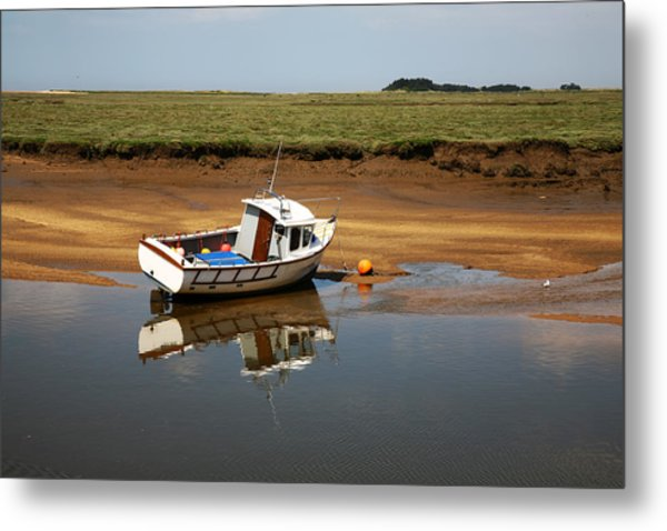 Beached Boat In River Estuary Metal Print
