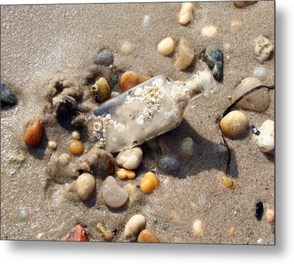 Beached Bottle Metal Print