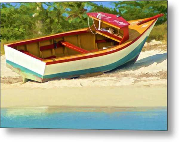 Beached Fishing Boat Of The Caribbean Metal Print