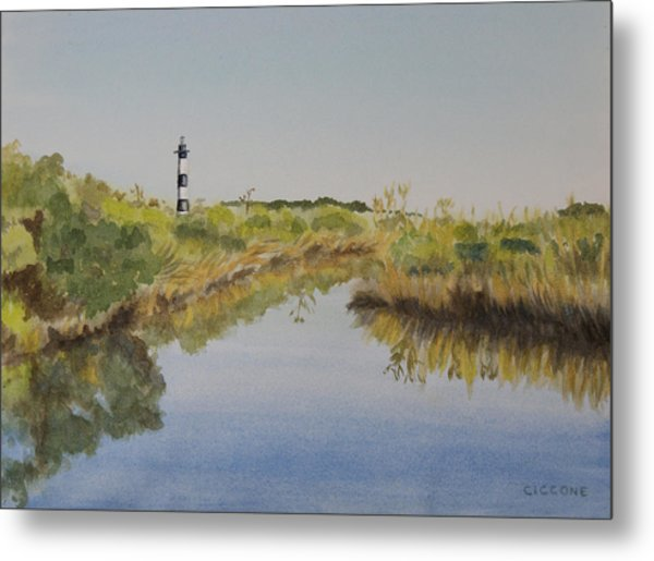 Beacon On The Marsh Metal Print