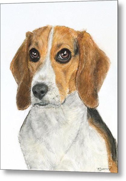 Beagle Painting Metal Print
