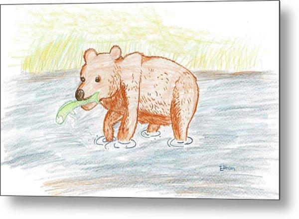 Bear Fishing Metal Print by Ethan Chaupiz